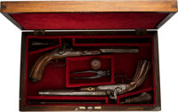 Cased Pair of Engraved Percussion Dueling Pistols