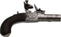 Handguns:Derringer, Palm, English Mortimer Flintlock Pistol.. ...