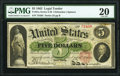 Large Size:Legal Tender Notes, Fr. 61a $5 1862 Legal Tender PMG Very Fine 20.. ...