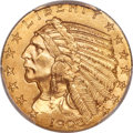 Indian Half Eagles, 1908-S $5 MS64 PCGS....
