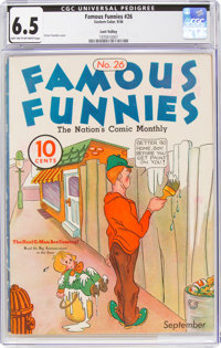 Famous Funnies #26 Lost Valley Pedigree (Eastern Color, 1936) CGC FN+ 6.5 Light tan to off-white pages
