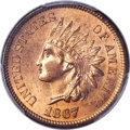 Indian Cents, 1867 1C MS65 Red PCGS. Snow-5....