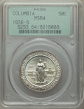 1936-S 50C Columbia MS64 PCGS. PCGS Population: (568/1485). NGC Census: (207/1325). CDN: $185 Whsle. Bid for problem-fre...
