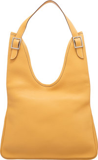 "Hermès Jaune Clemence Leather Massai PM Bag with Palladium Hardware D Square, 2000 Condition: 4 13"" Width x..."