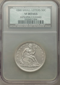 1840 50C Reverse of 1839, Small Letters, -- Improperly Cleaned -- NCS. VF Details. NGC Census: (0/247). PCGS Population:...