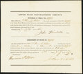 Miscellaneous:Other, Claremont, NH- Lower Falls Manufacturing Company Transfer Certificate Jan. 21, 1836 Very Fine.. ...