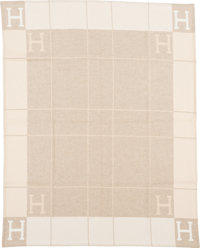 "Hermès Coconut & Chamomile Wool and Cashmere Avalon Blanket Condition: 1 53"" Width x 67"" Length..."