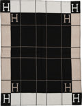 """Luxury Accessories:Home, Hermès Taupe & Black Wool and Cashmere Avalon Blanket. Condition: 1. 53"""" Width x 67"""" Length. ..."""