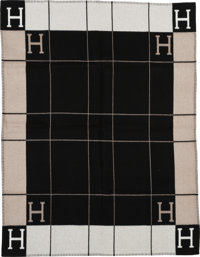 "Hermès Taupe & Black Wool and Cashmere Avalon Blanket Condition: 1 53"" Width x 67"" Length"