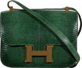 """Luxury Accessories:Bags, Hermès 23cm Vert Emerald Lizard Single Gusset Constance Bag with Gold Hardware. R Circle, 1988. Condition: 4. 9"""" W..."""