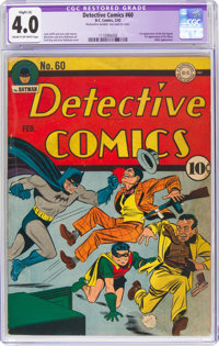 Detective Comics #60 (DC, 1942) CGC Apparent VG 4.0 Slight (A) Cream to off-white pages