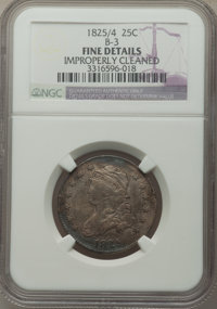 1825/4/(2) 25C B-3, R.3, -- Improperly Cleaned -- NGC Details. Fine. NGC Census: (4/21). PCGS Population: (6/52). Fine 1...