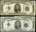 Error Notes:Gutter Folds, Fr. 1654 $5 1934D Wide I Silver Certificate. Very Fine;. Fr. 1654 $5 1934D Narrow Silver Certificate. About Uncirculated.... (Total: 2 notes)