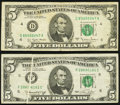 Error Notes:Gutter Folds, Gutter Fold Error Fr. 1973-F $5 1974 Federal Reserve Note. Very Fine;. Gutter Fold Error Fr. 1975-D $5 1977A Federal Reser... (Total: 2 notes)
