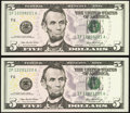 Small Size:Federal Reserve Notes, Radar 12200221 Serial Fr. 1993-F $5 2006 Federal Reserve Note. Gem CU;. Repeater 12201220 Serial Fr. 1993-F $5 2006 Federa... (Total: 2 notes)