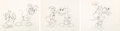 Animation Art:Production Drawing, Mickey's Trailer Mickey Mouse and Donald Duck Animation Drawings Sequence of 3 (Walt Disney, 1938). ... (Total: 3 )