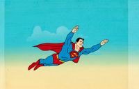 Super Friends Superman Publicity Cel and Painted Production Background (Hanna-Barbera, c. 1970s).</