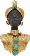 Estate Jewelry:Brooches - Pins, Turquoise, Ruby, Ebony, Gold Brooch. ...
