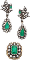 Estate Jewelry:Suites, Emerald, Diamond, Silver-Topped Gold Jewelry Suite, Portugal . ... (Total: 2 Items)