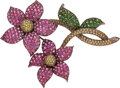 Estate Jewelry:Brooches - Pins, Sapphire, Garnet, Diamond, Gold Pendant-Brooch. ...