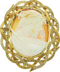 Estate Jewelry:Pendants and Lockets, Shell Cameo, Diamond, Colored Diamond, Ruby, Gold Pendant, Michael von Krenner. ...