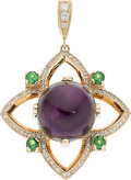 Estate Jewelry:Pendants and Lockets, Amethyst, Diamond, Tsavorite Garnet, Gold Pendant, Michael von Krenner. ...