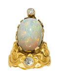 Estate Jewelry:Rings, Art Nouveau Opal, Diamond, Gold Ring. ...