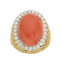Estate Jewelry:Rings, Coral, Diamond, Gold Ring. ...