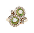 Estate Jewelry:Rings, Antique Diamond, Demantoid Garnet, Pearl, Gold Ring. ...