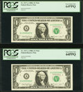 A-E Block Run 7 Plate Combo 5-2 Fr. 1917-A $1 1988A Federal Reserve Web Notes. Two Consecutive Examples. PCGS Very Choic...