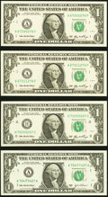 Small Size:Federal Reserve Notes, Radar $1 Federal Reserve Notes Four Examples Gem Crisp Uncirculated.. ... (Total: 4 notes)