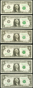 Small Size:Federal Reserve Notes, Quad Radars and More Radars $1 Federal Reserve Notes Six Examples Gem Crisp Uncirculated.. ... (Total: 6 notes)
