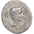 Ancients:Roman Imperial, Ancients: Octavian, as Sole Imperator (30-27 BC). AR denarius (20mm, 4h). NGC Fine....