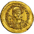Ancients: Theodosius II, Eastern Roman Empire (AD 402-450). AV solidus (21mm, 4.44 gm, 6h). NGC Choice XF 5/5 - 2/5, scr...
