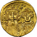 Ancients:Byzantine, Ancients: Constans II Pogonatus (AD 641-668), with Constantine IV, Heraclius and Tiberius. AV solidus (19mm, 4.42 gm, 7h). NGC MS 5/5 - ...