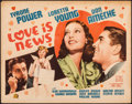 """Movie Posters:Comedy, Love is News (20th Century Fox, 1937). Fine+. Title Lobby Card (11"""" X 14""""). Comedy.. ..."""