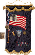 Inter-War US Flag Patriotic Home-front Gold Star Banner with Image, Insignias and Medal for Soldiers from the 918th Engi...