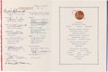 Military & Patriotic:WWII, The Atlantic Charter: A Historic Ship's Menu Signed by FDR, Churchill and Other Prominent Attendees. . ...