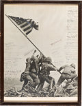 Military & Patriotic:WWII, Iwo Jima: A Unique Large Version of Joe Rosenthal's Iconic Flag-Raising Photo Signed by Fifty-Six Officers Present at the Epic...