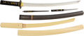 Edged Weapons:Swords, Japanese Shinto Wakizashi with Complex Choji Midare Hamon with Bokken Training Sword.. ... (Total: 2 )