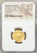 Ancients:Byzantine, Justinian I the Great (AD 527-565). AV solidus (21mm, 4.45...