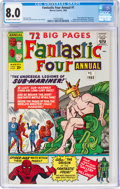 Silver Age (1956-1969):Superhero, Fantastic Four Annual #1 (Marvel, 1963) CGC VF 8.0 Off-white to white pages....