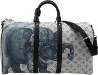 Louis Vuitton x Chapman Brothers Blue Savane Monogram Coated Canvas Elephant Keepall 45 Bag Condition: 1