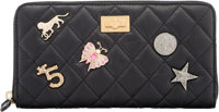 Chanel Black Aged Quilted Calfskin Leather Lucky Charms 2.55 Reissue Zip Wallet with Aged Gold Hardware Conditi