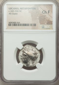 Ancients: LUCANIA. Metapontum. Ca. 340-330 BC. AR stater or nomos (23mm, 6h). NGC Choice Fine