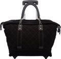 """Luxury Accessories:Travel/Trunks, Chanel Black Quilted Canvas Rolling Shopping Tote Trolley. Condition: 2. 20"""" Width x 15"""" Height x 9"""" Depth. ..."""