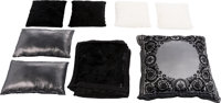 Versace Set of Eight: Black & White Fur Pillows & Blanket Condition: 2 See Extended Condition Rep... (Total: 8)