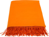 "Hermès Orange Cashmere Fringe Blanket Condition: 2 60"" Width x 80"" Length"
