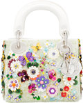 "Luxury Accessories:Bags, Christian Dior White Satin & Multicolor Flower Embellished Mini Lady Dior Bag. Condition: 2. 7"" Width x 5.5"" Height x ..."