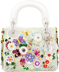 "Christian Dior White Satin & Multicolor Flower Embellished Mini Lady Dior Bag Condition: 2 7"" Wid"